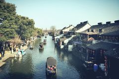 RIVER IN XI TANG TOWN. Old town near JIA XING Stock Photography
