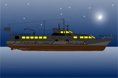 River yacht at night Royalty Free Stock Photography