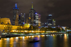 River Yarra and CBD at night Melborne Royalty Free Stock Photos