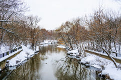 The river Yauza in the North of Moscow in winter during a thaw Royalty Free Stock Image
