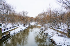 The river Yauza in the North of Moscow in winter during a thaw Royalty Free Stock Photos