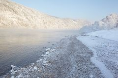 River Yenisei. Russia, river Yenisei. Siberian frosts Royalty Free Stock Photo