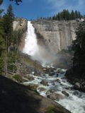 River in yosemite. Rainbow in yosemite national park Royalty Free Stock Images