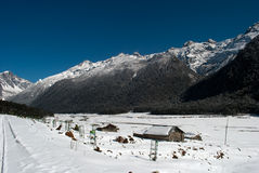 River at Yumthang Valley. A tributary of the river Teesta flows past the snow filled Yumthang valley, Sikkim, India in the winter and local people closed their Stock Photos