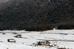 River at Yumthang Valley. A tributary of the river Teesta flows past the snow filled Yumthang valley, Sikkim, India in the winter and local people closed their Stock Image