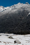 River at Yumthang Valley. A tributary of the river Teesta flows past the snow filled Yumthang valley, Sikkim, India in the winter and local people closed their Stock Photography