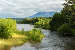 River Zhupanova. Kronotsky Nature Reserve on Kamchatka Peninsula. View from helicopter stock images