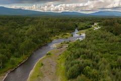 River Zhupanova. Kronotsky Nature Reserve on Kamchatka Peninsula. View from helicopter stock photography