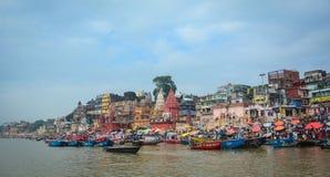 Riverbank του Γάγκη στο Varanasi, Ινδία Στοκ Εικόνες
