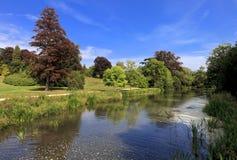 Riverbank .Blenheim Palace, England, United Kingdom stock photo