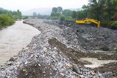 Riverbank construction Stock Photos