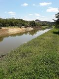 Riverbank improvements on a sunny day. In the city of Sorocaba, Brazil royalty free stock image