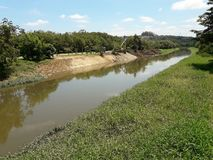 Riverbank improvements on a sunny day. In the city of Sorocaba, Brazil stock photos