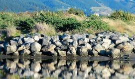 Riverbank Landscape. Following Waikanae River to the sea, Wellington, New Zealand Stock Photos