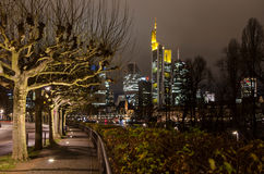 Riverbank of Main river with centre of Frankfurt am Main in background Stock Photos