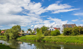 Nidda Riverbank Summer with blue sky in Frankfurt Hoechst Royalty Free Stock Images