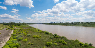 Riverbank panorama, Warsaw. High resolution panoramic photo of Wisła river in Warsaw, Poland Stock Photography
