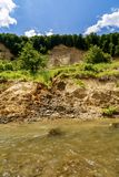 Riverbank on the River  showing signs of bank erosion. And instability Stock Photos