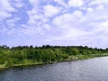 Riverbank scene. With bird and plane in picture Stock Photography