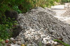 Riverbank system ochrony projektujący łupów operatorami w Bulatukan rzece, Kapoc, Matanao, Davao Del Sura, Filipiny fotografia royalty free