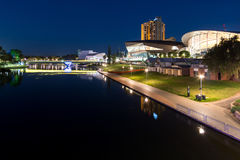 Riverbank of the torrens at night Stock Image