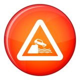 Riverbank traffic sign icon, flat style Stock Photos