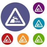 Riverbank traffic sign icons set Royalty Free Stock Photos
