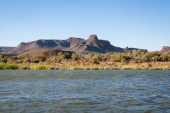 Riverbank van Oranje Rivier, Zuid-Afrika Stock Afbeeldingen