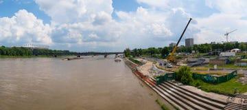 Riverbank in Warsaw, Poland. Panoramic view from Świętokrzyski bridge Stock Images