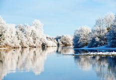 Riverbank Winter Landscape Royalty Free Stock Photos
