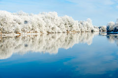 Riverbank Winter Landscape Royalty Free Stock Photography