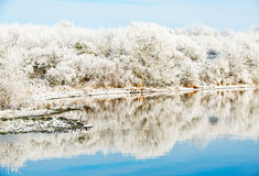 Riverbank Winter Landscape Royalty Free Stock Photo
