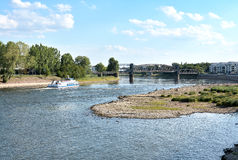 Riverbed of the Elbe. People in the dry riverbed of the Elbe near Magdeburg royalty free stock images