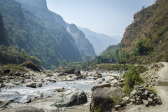 Riverbed in Himalaya mountains Royalty Free Stock Photos