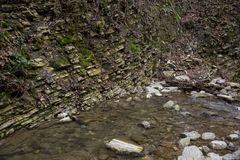 Riverbed of the Mountain River in the Caucasus Mountains. Russia. Sochi. Riverbed of the Mountain River in the Caucasus Mountains. Autumn Forest. Russia. Sochi royalty free stock photography