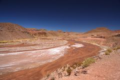 Riverbed of a red river. Flowing through wide valley in northern Argentina Royalty Free Stock Photo