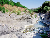 Riverbed of river Alcantara, Sicily Royalty Free Stock Photo