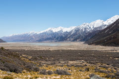 Riverbed of Tasman River near foothill of mt. Cook, New Zealand Royalty Free Stock Photos
