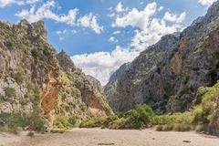 In the riverbed of Torrent de Pareis in Mallorca stock photography