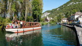Riverboat in Chanaz - France Stock Photo