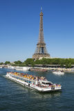 Riverboat and Eiffel Tower Stock Photo