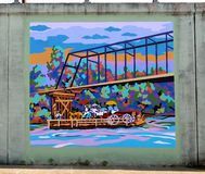 A Riverboat Ferry Steaming Down The River Mural On James Road in Memphis, Tennessee. Royalty Free Stock Photography