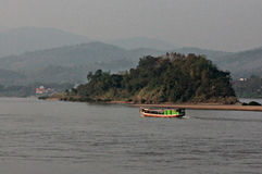 Riverboat on the mighty Mekong River, Thailand and Laos Royalty Free Stock Photography