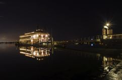 Riverboat in Mission Bay, San Diego. Night view of an authentic, vintage, American riverboat with two chimneys resembling the steamboats used in the 1800s in stock photos