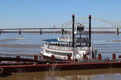 Riverboat on the Mississippi. Riverboat at dock on the Mississippi river in Memphis Tennessee Royalty Free Stock Images