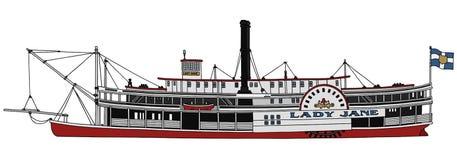 Riverboat velho da pá do vapor Fotografia de Stock Royalty Free