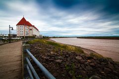 The rivercoast in the of Moncton city. Travel throough New Brunswick, Canada Royalty Free Stock Photos