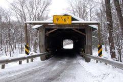 Riverdale Road Bridge Winter. Riverdale Road covered bridge in winter Stock Images