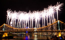 Riverfire. Fireworks on the Story Bridge in Brisbane, for the annual Riverfire Festival Stock Photos