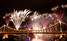 Riverfire. Fireworks on the Story Bridge in Brisbane, for the annual Riverfire Festival Royalty Free Stock Image